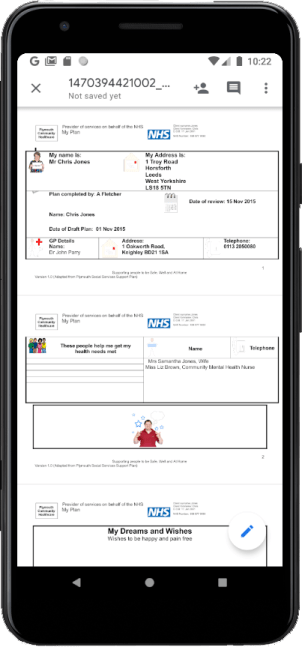 Image of a screen showing a patient letter uploaded and viewable via Airmid
