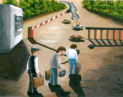 Cartoon: Migration-Migrant (medium) by menekse cam tagged human,men,man,gate,border,oppressed,be,migrant,migration,politic