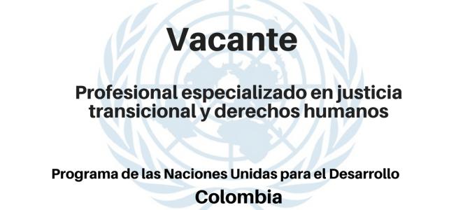 Vacante Profesional especializado en justicia transicional y derechos humanos PNUD