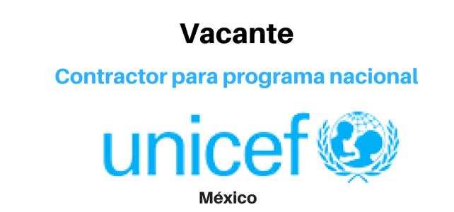 Vacante Contractor para programa nacional con UNICEF