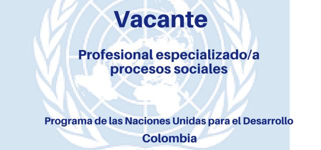 Vacante Profesional con el Programa de las Naciones Unidas en Colombia