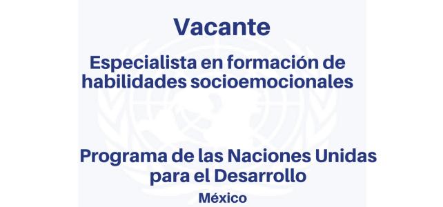 Vacante Especialista en formación de Habilidades Socioemocionales con el PNUD