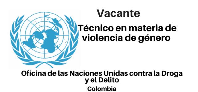 Vacante Técnico en materia de violencia de género con UNODC en Colombia