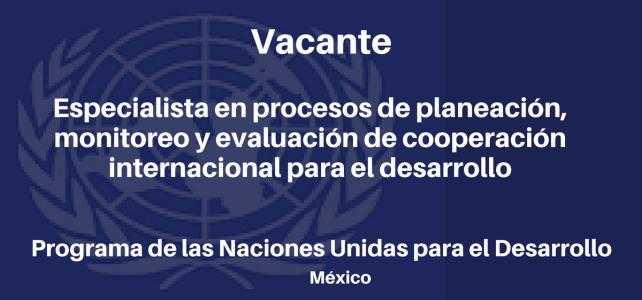 Vacante Especialista en procesos de planeación, monitoreo y evaluación de cooperación internacional para el desarrollo con el PNUD