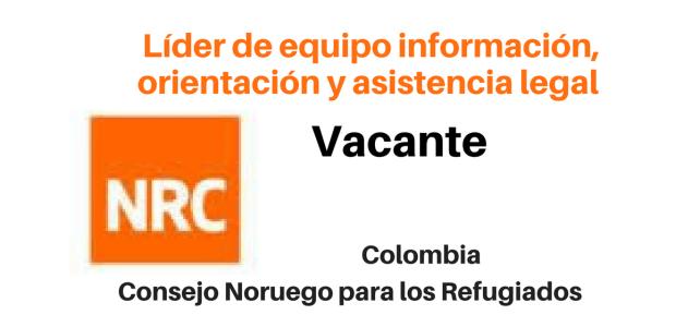 Vacante Líder de equipo Información, Orientación y Asistencia Legal NRC