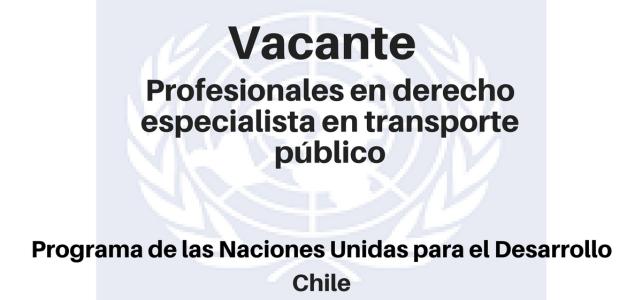 Vacante profesional en derecho especialista en Transporte Público PNUD