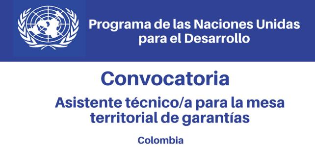 Convocatoria Asistente Técnico/a para la Mesa Territorial de Garantías PNUD