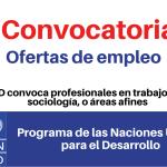 PNUD convoca profesionales en trabajo social