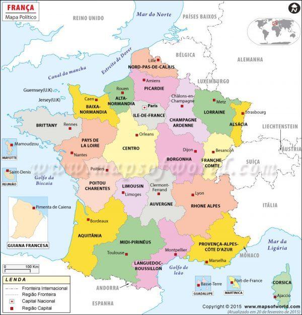 mapa de frança → Mapa da França Cidades: Conheça as Regiões da França  mapa de frança