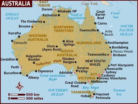 mapa da australia → Mapa da Austrália: Conheça Todas as Regiões da Austrália mapa da australia