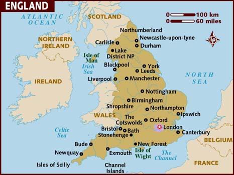 mapa da inglaterra → Mapa da Inglaterra: Conheça as Regiões da Inglaterra mapa da inglaterra