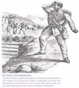 Gravura de volta do Paraguai de Ângelo Agostini (1843-1910), retratando a contradição da luta dos negros na guerra