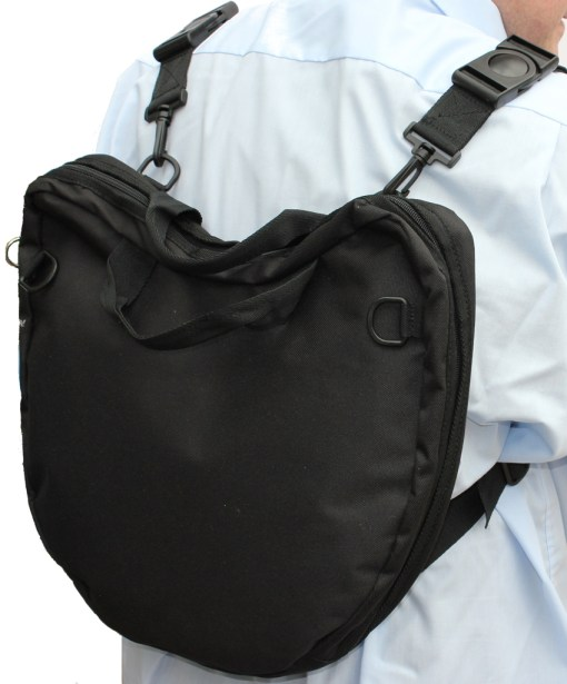 Wearing the Trabasack Curve lap tray bag as a rucksack