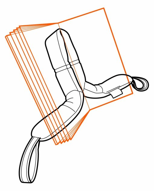 Illustration shows the Media Mount holding a book upright and open