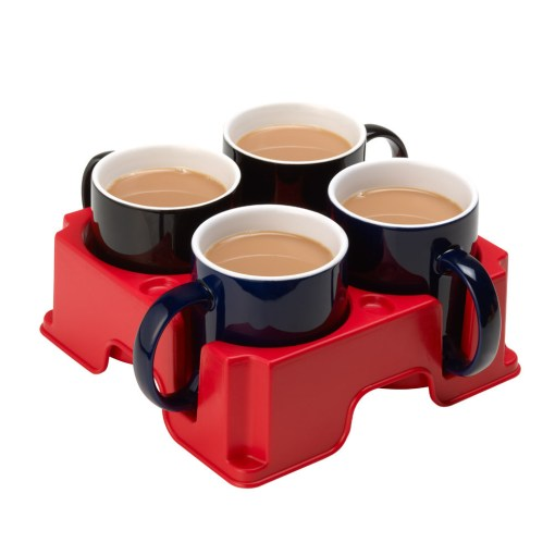 Plastic Muggi multi-cup tray in red, holding four black mugs of tea