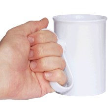 Photograph showing male hand holding white handSteady mug by the handle