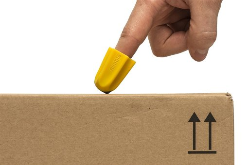 Image shows the Nimble on the end of an index finger cutting through the tape on a sealed delivery box
