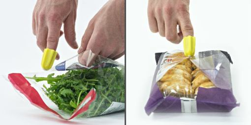 Two images side-by-side, showing the Nimble attached to an index finger, slicing open a bag of salad on the left, and a packet of sausage rolls on the right