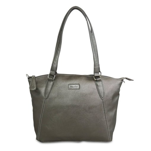 Image shows a photograph of a ladies shoulder bag in Metallic Grey on a white background