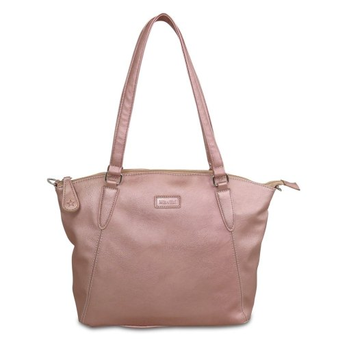 Image shows a photograph of a ladies shoulder bag in a soft Rose Gold colour, on a white background