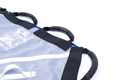 Image shows a close-up of three carry handles on the Adult ProMove Transfer Sling on a white background
