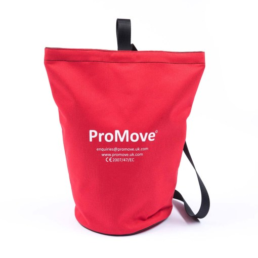 "Image shows the ProMove Carry Bag in red, stood upright on a white background. White printed text on the bag reads: ""ProMove. Enquiries@promove.uk.com. www.promove.uk.com. CE 2007/47/EC"""