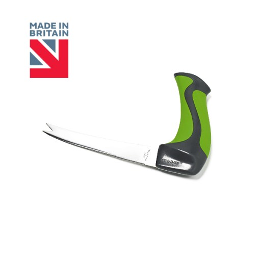 "Image is a photograph of the easi-grip all purpose knife on a white background, with a Union Flag logo in the top lefthand corner with text that reads: ""Made in Britain""."