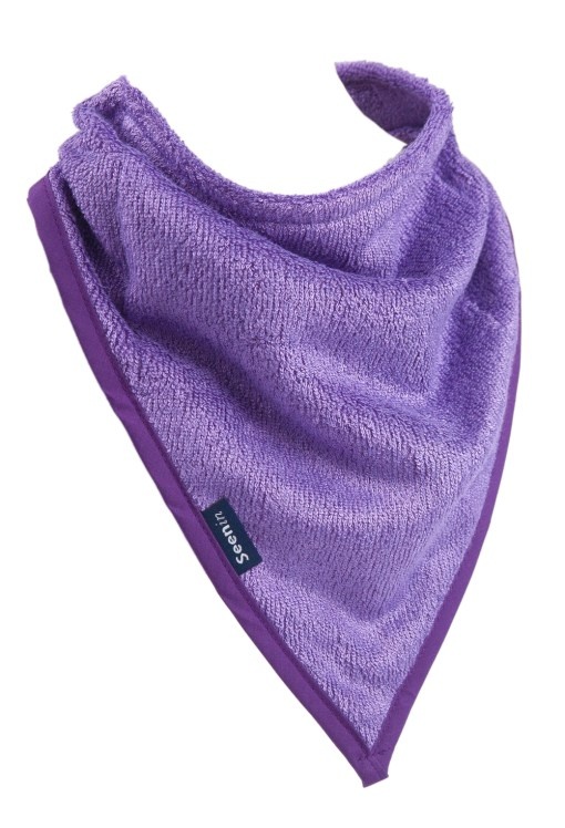 Image shows a photograph of a purple bamboo towelling kerchief as if fixed around the neck, on a white background