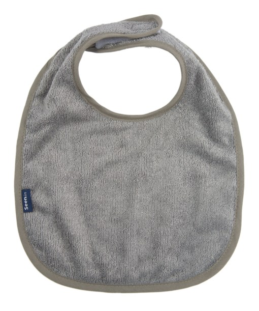 Image shows a photograph of a grey bamboo towelling dribble bib lay flat on a white background