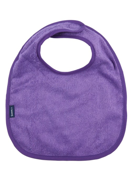 Image shows a photograph of a purple bamboo towelling dribble bib lay flat on a white background