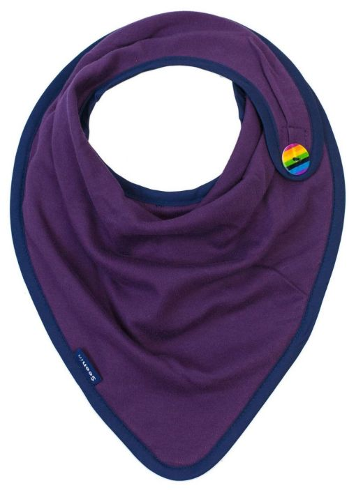 Image shows a photograph of a plum-purple coloured kerchief with a striped button in rainbow colours, sewn on to one side.