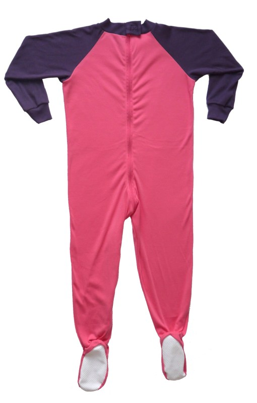 Image shows a photograph of a Seenin sleepsuit lay flat on a white background, illustrating the gripper feet and back zip, on a pink and purple sleepsuit