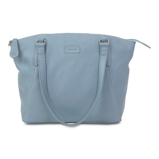 "Image shows a photograph of a Samantha Renke handbag in a light ""Air Force"" blue colour, on a white background."