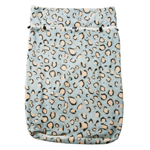 """Image shows a photograph of a fleece wheelchair leg cover in """"Blue Leopard"""" design, featuring a light blue background with beige and black leopard print spots."""