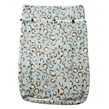 "Image shows a photograph of a fleece wheelchair leg cover in ""Blue Leopard"" design, featuring a light blue background with beige and black leopard print spots."