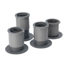 Image shows a photograph of 4 grey plastic chair/bed raisers at various heights on a white background