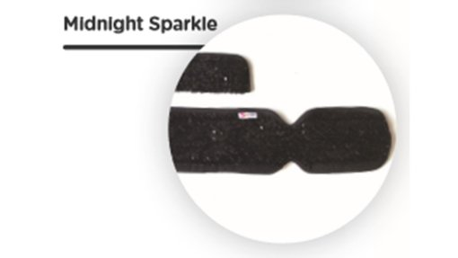 Image shows a circle inside of which is a photograph of a close-up of the Midnight Sparkle black sequinned fabric used for the Skoe Wrap