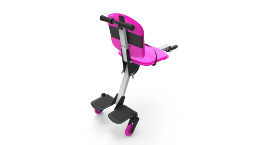 Image is a photograph showing the back of a Skoe Hitch in pink, illustrating the footplate for larger children, and the chair for smaller children.