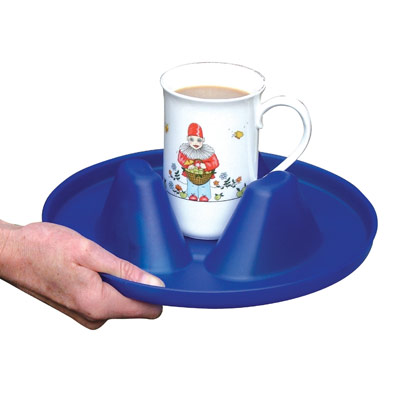 Image is a photograph of a blue, circular Buckingham Mug Holder tray with a mug of tea in the centre, on a white background