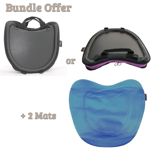 "Image is a composite of three photographs, the Trabasack Curve with Classic Black trim, Curve with Purple Trim and the Trabasack non-slip mat. Text reads ""Bundle offer, Trabasack Curve in black or Curve with purple trim and 2 non-slip mats"""