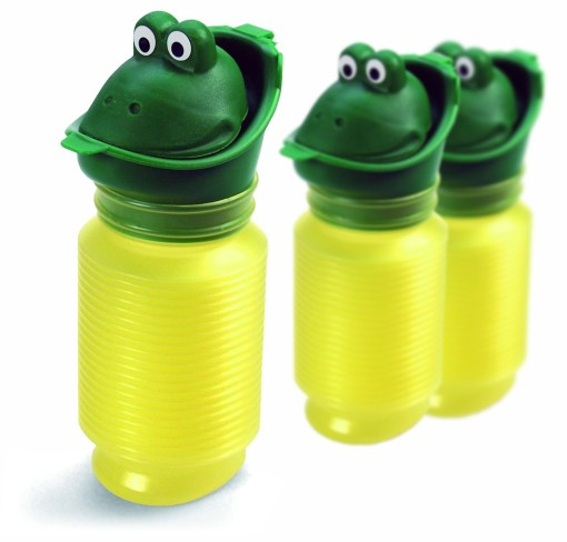 Image is a photograph of three Happy Pees stood upright on a white background