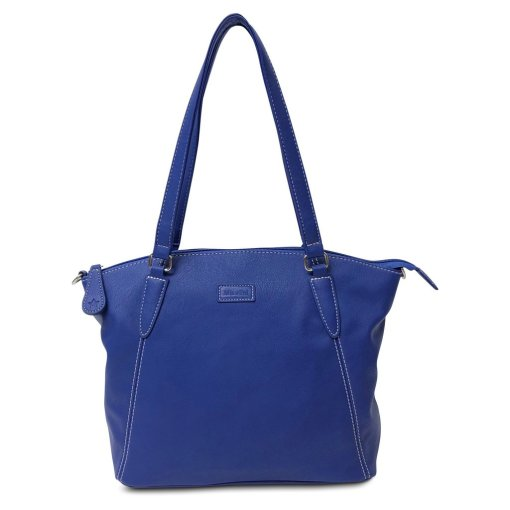 Image is a photograph of the Samantha Renke bag in a striking Cobalt blue, on a white background