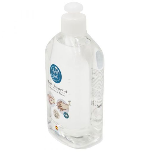 Image is a photograph of the side of a clear, plastic bottle of alcohol hand sanitiser 500ml