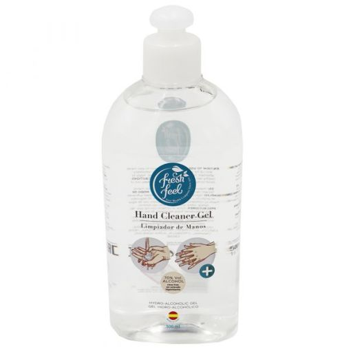 Image is a photograph of the front of a clear, plastic bottle of alcohol hand sanitiser 500ml