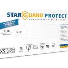 Image is a photograph of the packaging box for the Protect nitrile gloves