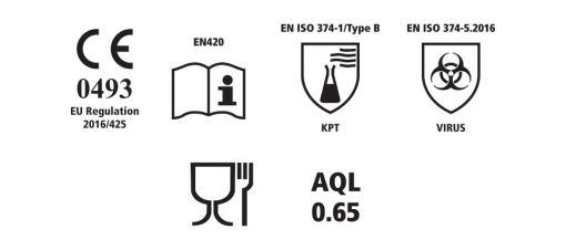 Image is a group of icons reflecting various standards these medical gloves meet - including CE 0493, EU Regulation 2016/425, EN420, EN ISO 374-1/Type B, EN ISO 374-5.2016 VIRUS, Food Standard and AQL 0.65