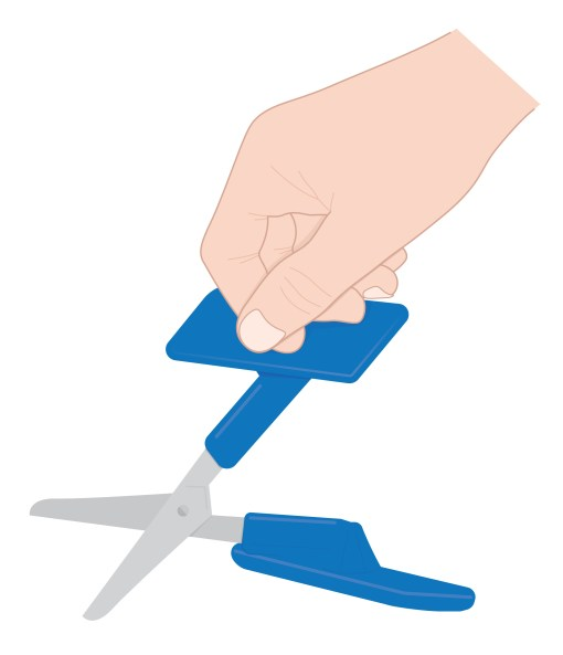 Image is an illustration of a clenched hand, using knuckles to apply pressure to the large t-shaped handle of the push-down Peta-UK Scissors