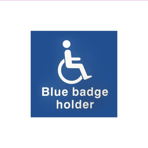"Image is a blue, square sticker featuring a disabled symbol in white with text which reads ""Blue badge holder"""
