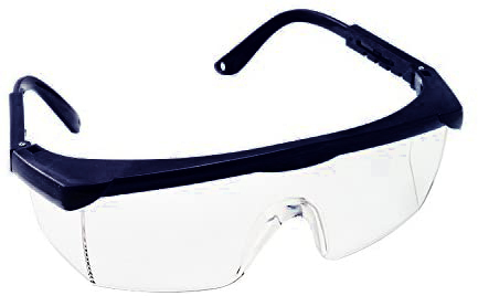 Image is a photograph of the front of a pair of black upper framed safety glasses with the temples outstretched behind the lens