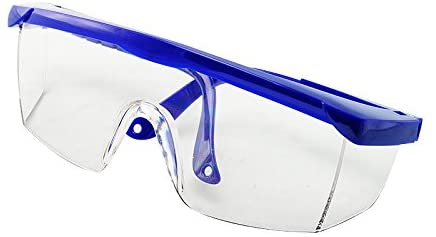 Image is a photograph of a blue upper-framed pair of safety glasses folded neatly